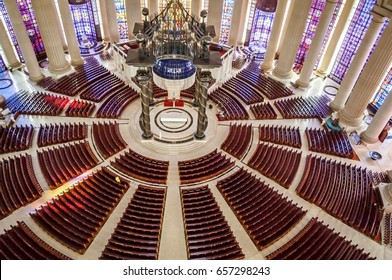 YAMOUSSOUKRO, IVORY COAST. July 3, 2013. The Catholic Basilica of Our Lady of Peace (Basilique Notre-Dame de la Paix). Consecrated in 1990 by Pope John Paul II, it is the largest church in the world.