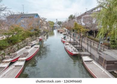 Yanagawa,Fukuoka,Kyushu,Japan - October 26, 2018 :low flat boats in canal