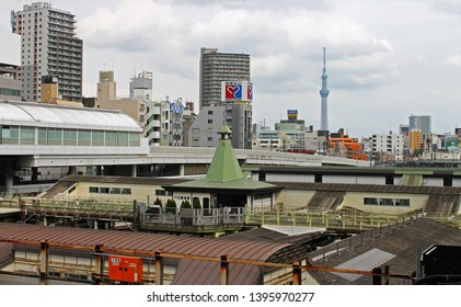 Yanaka, Tokyo, Japan - 06.29.2018: A view towards the Tokyo Skytree from Nippori Station in the Yanaka district in Tokyo, Japan.