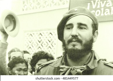 Yangiyer, Uzbekistan - May 11, 1963: Residents welcomed Fidel.