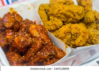 Yangnyeom chicken, Korean style fried chicken, two flavor fried chickens