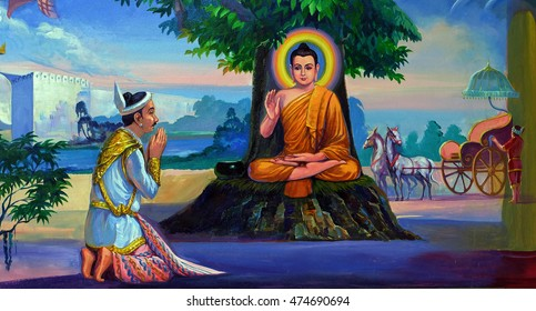 YANGON, BURMA - August 1, 2016 - Life of the Buddha painting, Yangon, Myanmar (Burma)