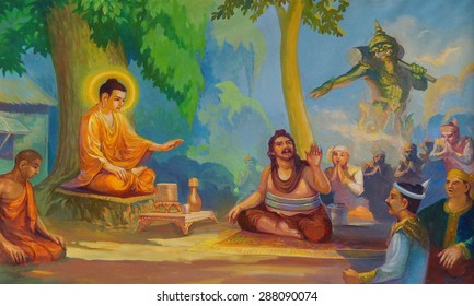 YANGON, BURMA - FEB 18, 2015 - Life of the Buddha painting  in Chauk Htat Gyi Pagoda, Yangon, Myanmar (Burma)