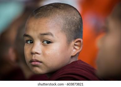 Yangon, Burma, February - 8-2016 The novice at school in Yangon.