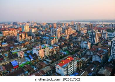 Yangon landscape sunset when traveling in Burma, Myanmar. Travel photography.
