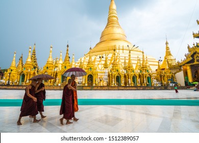 yangon, myanmar. 15 th august, 2019: golden pagoda of shwedagon at yangon, myanmar