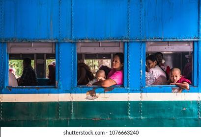 Yangon - Myanmar, 19 Mar,2018: Yangon Train Station. A big local train station in Yangon, Myanmar