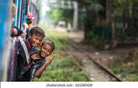 Yangon, Myanmar, April 15, 2017 - Circular train journey