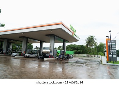 Yangon, Myanmar - August 19, 2018: Denko gas station in Yangon, Myanmar, Denko Trading Co.,Ltd is the Number One Fuel Station in Myanmar