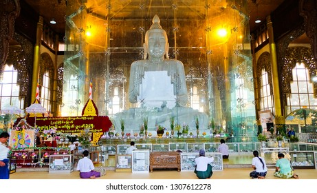 YANGON, MYANMAR - Circa October, 2018:Lawka Chantha Abaya Labamuni Buddha Image or Kyauk Taw Gyee Pagoda  Is a large Buddha image carved from a single marble at Yangon,Myanmar.