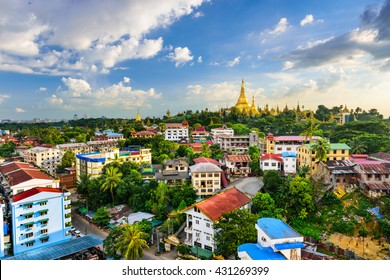 Yangon, Myanmar city skyline.