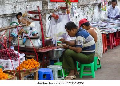 YANGON, MYANMAR - DECEMBER 05, 2014: view of street food in Yangon, in Myanmar