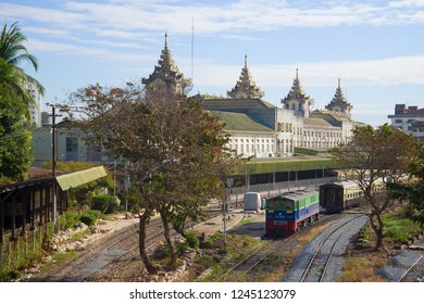 YANGON, MYANMAR - DECEMBER 17, 2016: Sunny day at Yangon main railway station