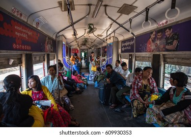Yangon, Myanmar - December 26, 2016: City line of local railway transportation is a famous public service for local people in greater Yangon, Myanmar.