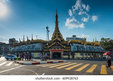 Yangon, Myanmar - December 27, 2016: Sule Paya Pagoda, a famous historical temple located in central district of Yangon, Myanmar.