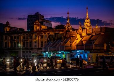 Yangon, Myanmar - December 28, 2016: Night time of busy street  in central district of Yangon, Myanmar.