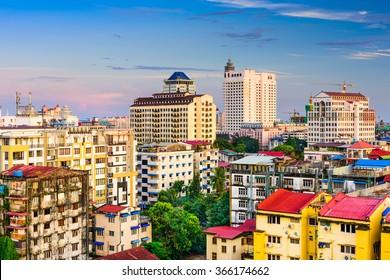 Yangon, Myanmar downtown skyline.