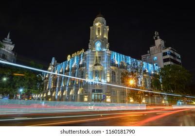 Yangon, Myanmar - Feb 1, 2017. Night street of Yangon, Myanmar. Yangon is Myanmar largest city and its most important commercial centre.