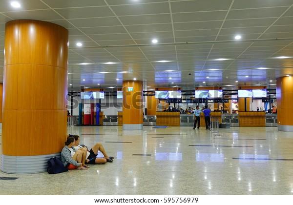 Yangon Myanmar Feb 14 2017 Passengers Stock Photo Edit Now 595756979