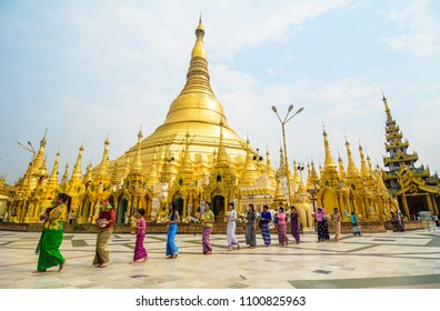 Yangon, Myanmar - Feb 26, 2016. Shinbyu Ceremony at Shwedagon Pagoda in Yangon, Myanmar. The Shinbyu or Novitiation ceremony is a unique feature of Myanmar.
