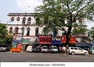 Yangon, Myanmar - Feb 26, 2016. People and vehicles on street in Yangon, Myanmar. Sule Boulevard are the busiest street in Yangon.