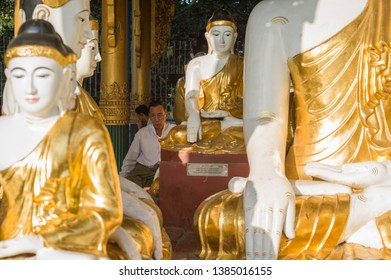 YANGON, MYANMAR - FEB 27: Golden Shwedagon Pagoda in early morning on February 27, 2015 in Yangon, Myanmar. Thousands of monks and pilgrims over the country are walking around the pagoda everyday.