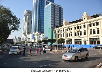 YANGON, MYANMAR - FEBRUARY 05 - Street view of the former burmese capital nearby Sule pagoda and Yangon city hall on february 05, 2019 in Yangon
