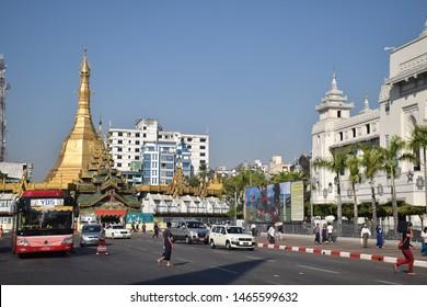 YANGON, MYANMAR - FEBRUARY 05 - View of Sule pagoda, one of the main pagodas in the former burmese capital on february 05, 2019 in Yangon