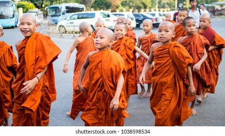 Yangon, Myanmar - February, 15, 2018: Young Buddhist monks