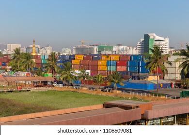 Yangon, Myanmar - February 16, 2017 : landing place bridge and warehouse Seikkan Township at Botahtaung Pagoda Rd, Yangon,Myanmar.