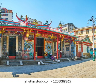 YANGON, MYANMAR - FEBRUARY 17, 2018: The stunning Long Shan Tang Clan Temple belongs  to Hokkien community and located in Cantonese area of Chinatown in Anawrahta Road, on February 17 in Yangon.
