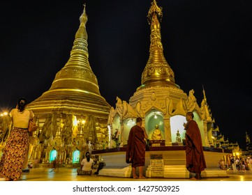 YANGON, MYANMAR - FEBRUARY 21, 2013: Shwedagon Pagoda at night in the colonial city of Yangon, Myanmar