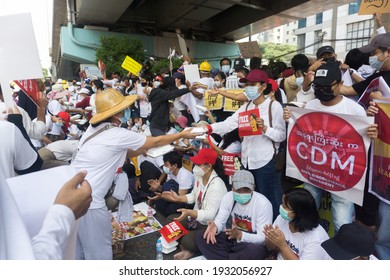 Yangon, Myanmar - February 22, 2021: myanmar citizens protesting against military coup for real democracy