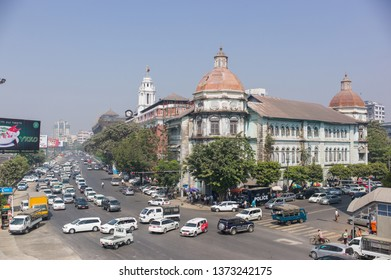 YANGON, MYANMAR - FEBRUARY 27 2015:  Accountant General Building, an iconic colonial-era building, on Pansodan Road and Strand Road.