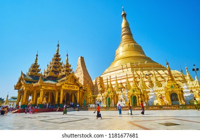 YANGON, MYANMAR - FEBRUARY 27, 2018: Shwedagon Zedi Daw is famous for its giant beautiful pagoda, ornate stupas and scenic image houses and shrines, on February 27 in Yangon.