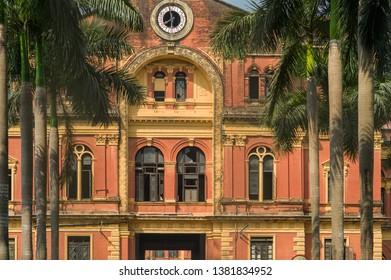YANGON, MYANMAR - FEBURARY 27 2015:  The  colonial-era building of The Secretariat's Office.