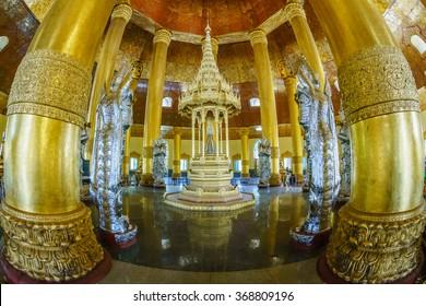 YANGON, MYANMAR - JAN 16: Swe Taw Myat temple on Jan 16, 2016 in Yangon. It is the place to keep Sacred Replica Buddha Tooth Relic.