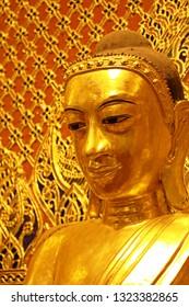 Yangon, Myanmar : January, 1 2019 : Buddha statue in Shwedagon Pagoda Yangon Myanmar.
