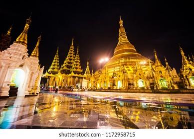 YANGON , MYANMAR - JUL 20, 2018: Shwedagon Pagoda  is the most sacred Buddhist pagoda in Myanmar.