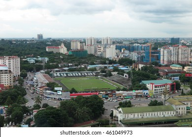 YANGON, MYANMAR - JULY 23, 2016 : Yangon cityscape, downtown and Myanmar stadium in Yangon, Myanmar