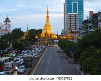 YANGON, MYANMAR - JULY 23, 2016 : Sule Pagoda in downtown evening, Yangon, Myanmar. Sule Pagoda located in the heart of Yangon.