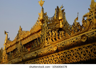 YANGON, MYANMAR - MAR 2, 2015 - Golden stupa of the Botataung Pagoda , Yangon,  Myanmar (Burma)
