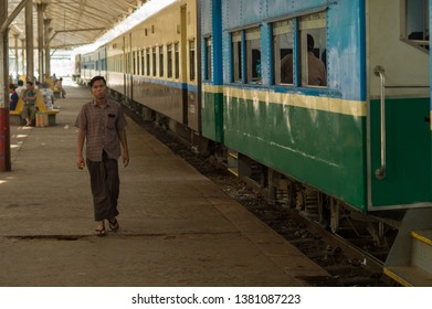 YANGON, MYANMAR, MAR 6: The commuters on the train station platform in Yangon, Myanmar on March 6 2015. It is the major transportation in the city.