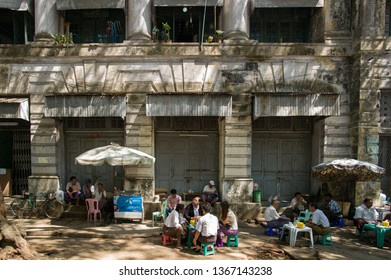 YANGON, MYANMAR, MAR 6: The local street food hawkers in Yangon, Myanmar on March 6 2015.