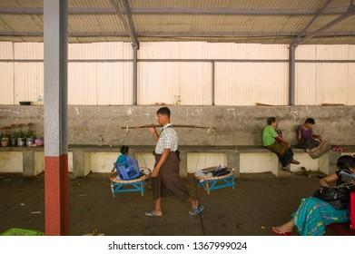 YANGON, MYANMAR, MAR 6: The local fruit hawkers in Yangon, Myanmar on March 6 2015.