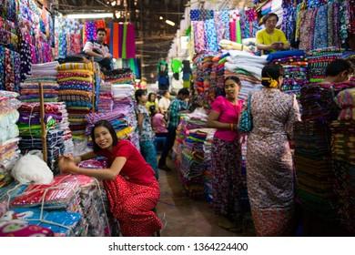 YANGON, MYANMAR, MAR 6: The shopkeeper in Bogyoke Aung San Market in Yangon, Myanmar on March 6 2015.