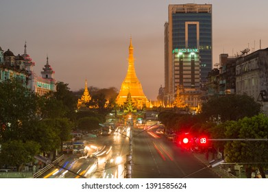 YANGON, MYANMAR, MAR 6: The Sule Pagoda at a roundabout at night in Yangon, Myanmar on March 6 2015.