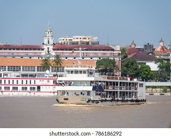 Yangon, Myanmar - November 5, 2017: New passenger ferries delivered in 2014 have made the trip across Yangon River from Pansodan Ferry Terminal in Yangon to Dala Terminal on the Dala side a safe ride.