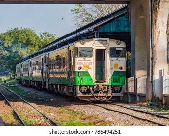 Yangon, Myanmar - November 5, 2017: Myanmar's extensive railway network is slowly being modernised, mainly with used trains from other Asian countries. Here's a Japanese commuter train in Yangon.