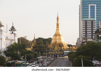 Yangon, Myanmar - OCT 30 : The Sule Pagoda in the evening light on October 30,2015 in Yangon, Myanmar. Sule Pagoda located in the heart of Yangon.